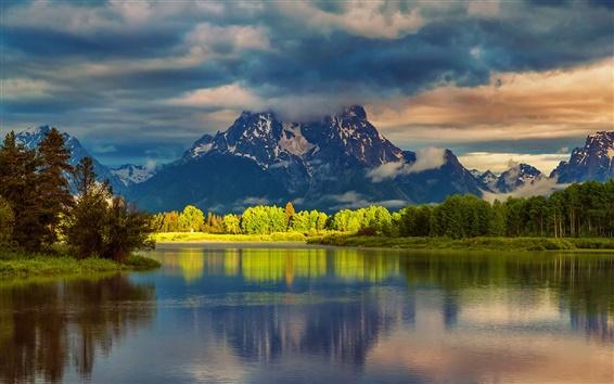 Papéis de Parede EUA, Wyoming, Grand Teton National Park, montanhas, água, floresta, manhã