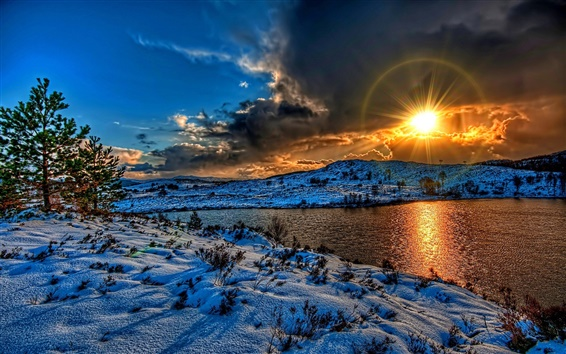Wallpaper Winter landscape, sunset, snow, river, sky, clouds, white, shadow