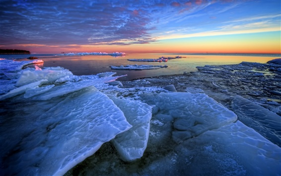 Wallpaper Winter, sea ice, morning, sunrise, blue