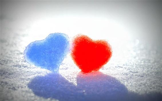 Papéis de Parede Da neve do inverno, coração do amor azul e vermelho