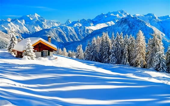 Wallpaper Winter, snow, house, trees, nature, forest, mountains, sky, white