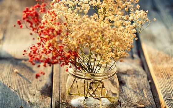 Fond d'écran Panneau en bois, petites fleurs, vase