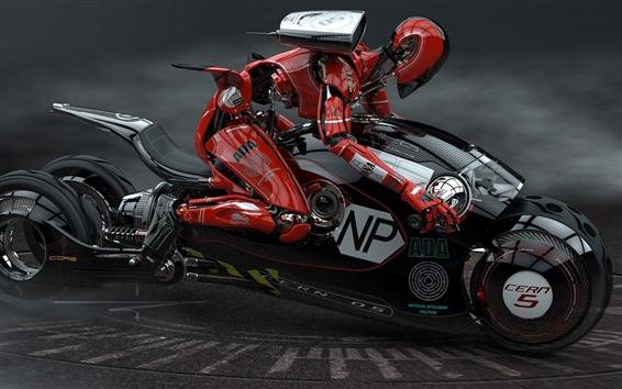 Wallpaper 3D design, bike robot racer