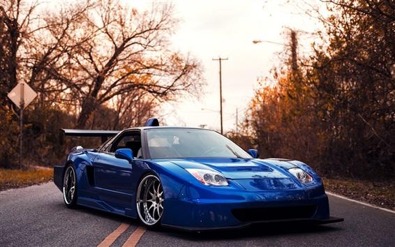Wallpaper Acura blue supercar at sunset