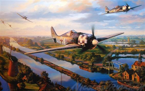 Wallpaper Aircraft, war, dogfight, art drawing