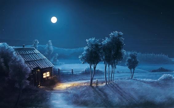 Обои Искусство дизайн, ночь, луна, дом, поля, деревья