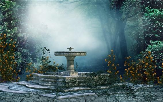 Fond d'écran Paysage de l'art, de l'humeur, parc, arbres, brouillard, fontaine, fleurs