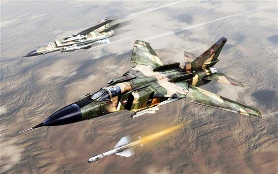 Обои Художественная роспись, МиГ-23 струи советский истребитель, ракеты