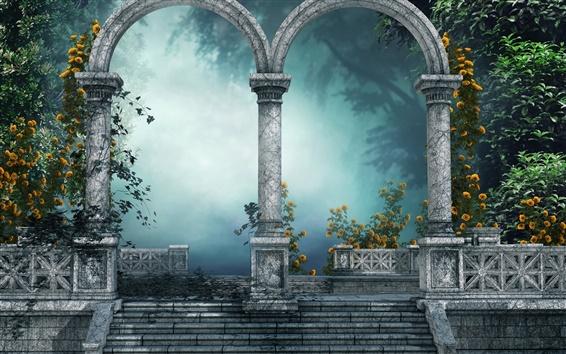 Fond d'écran Images d'art, parc, arbres, brouillard, voûte, fleurs jaunes