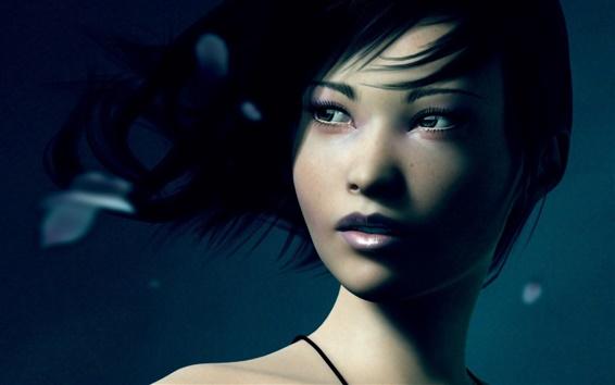 Wallpaper Artwork, asian girl, eyes, wind