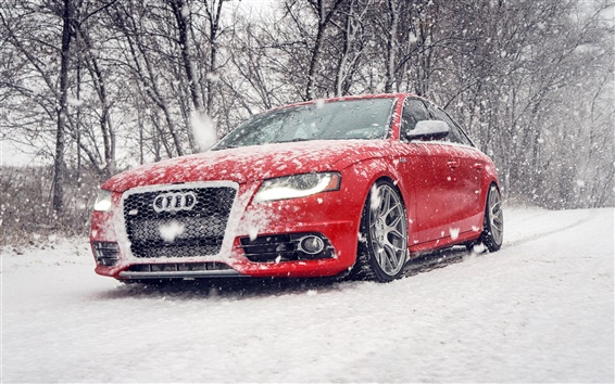 Wallpaper Audi S4 red car in snow winter