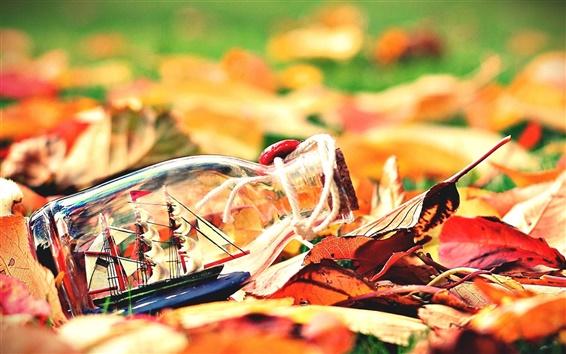 Fond d'écran Les feuilles d'automne, bouteille, bateau