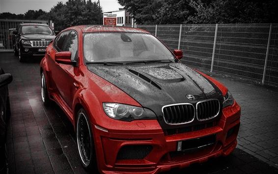 壁紙 BMW X6Mハーマン赤い黒い車