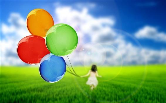 Wallpaper Balloons, girl, silhouette, nature, grass, green, sky