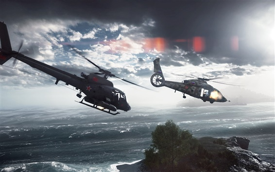 Wallpaper Battlefield 4, Paracel Storm, Helicopters