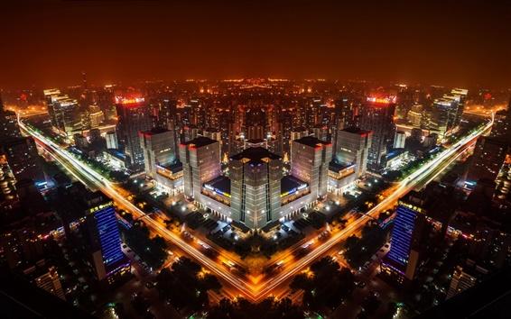 Обои Пекин, Китай, горизонты города ночью, здания, огни