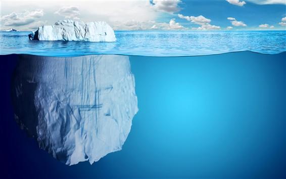 Papéis de Parede Mar azul, grande pedra, água