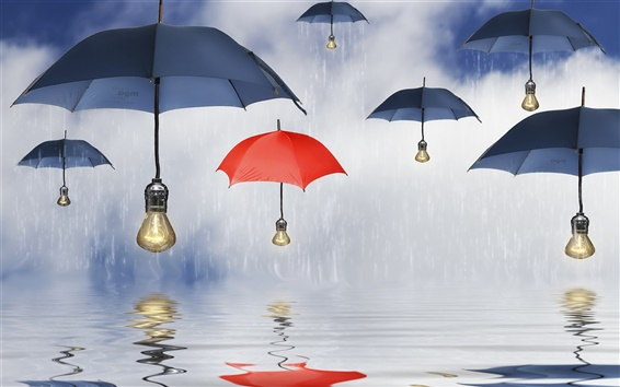 Wallpaper Blue umbrellas, parasols, lamps, rain, water, reflection
