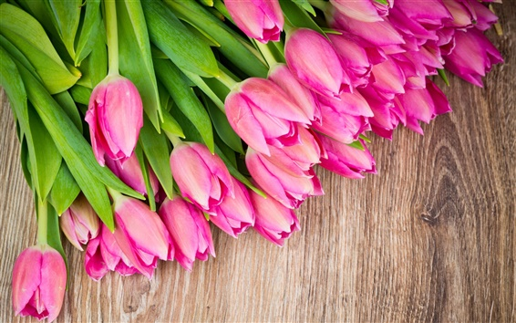 Fond d'écran Bouquet de fleurs, tulipes roses, planche de bois