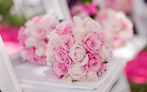 Обои Букет невесты, розовые розы