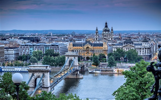 Wallpaper Budapest, Szechenyi Chain Bridge, Danube, river, city, architecture