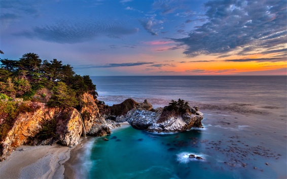 Wallpaper California, Julia Pfeiffer Burns State Park, rocks, coast, trees, sunset