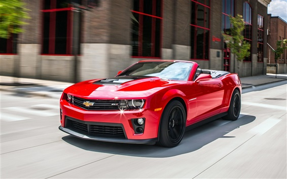 Wallpaper Chevrolet Camaro Convertible, red car, road