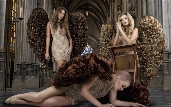 壁紙 クリエイティブデザイン、天使たち、女の子、髪の翼
