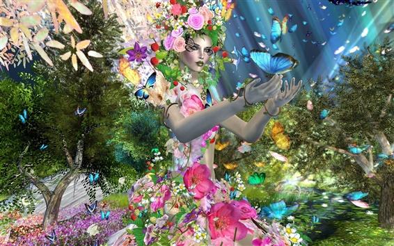 Papéis de Parede Menina Design criativo, borboleta, flores, árvores