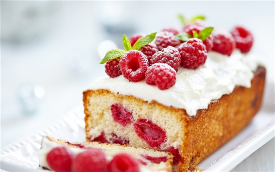 Wallpaper Cupcake, cream, raspberries, berries, dessert, food