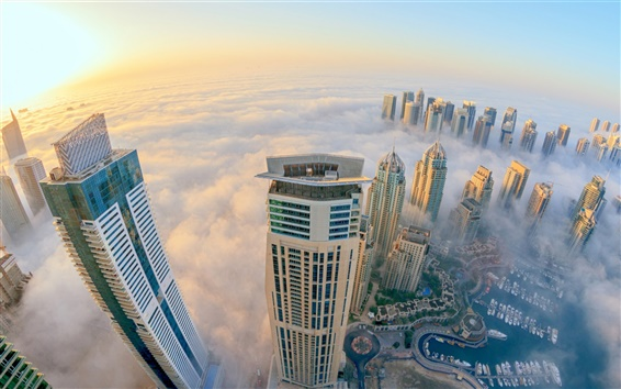 Wallpaper Dubai, city view, mist, skyscrapers