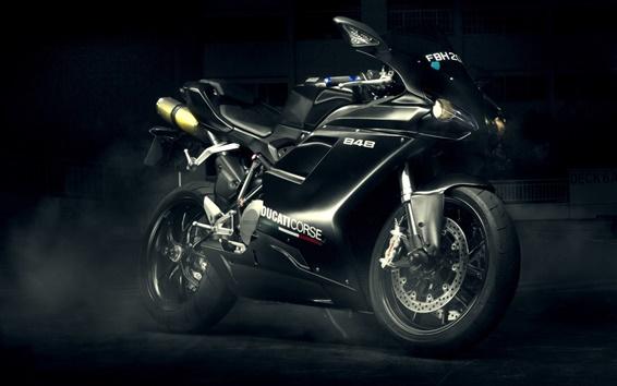 壁紙 ドゥカティ848エボ黒いオートバイ