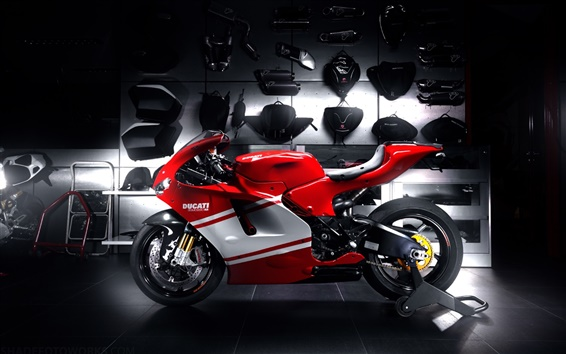 Wallpaper Ducati red sportbike, motorcycle