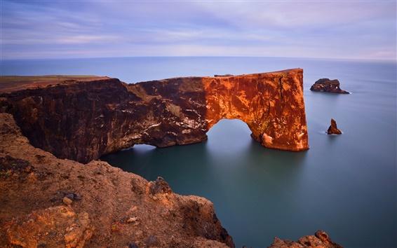 Wallpaper Dyrholaey Arch, Iceland, the Atlantic ocean, rock, coast