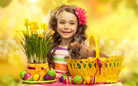 Wallpaper Easter eggs, cute girl, rabbit, flowers