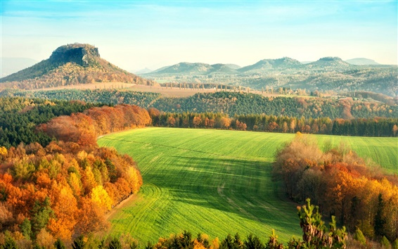 Wallpaper Elbe Sandstone Mountains, Germany, autumn, hills, trees, fields, yellow