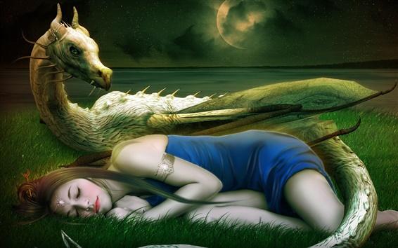 Обои Фэнтези искусство, девушка, спит, дракон