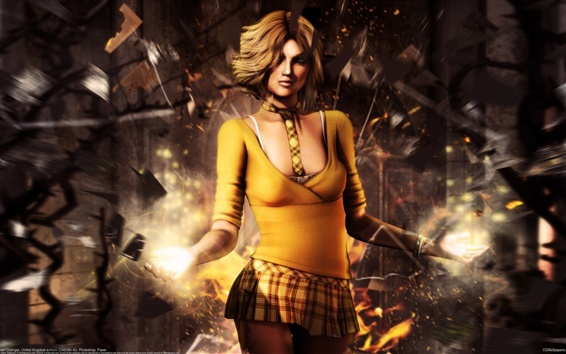 Wallpaper Fantasy yellow clothes girl, magic