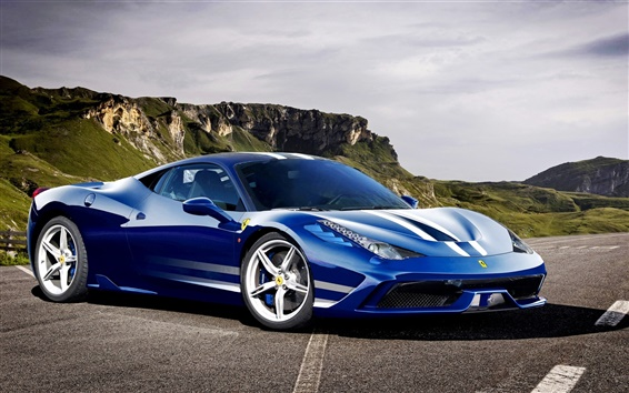 Wallpaper Ferrari 458 Speciale Italia blue supercar