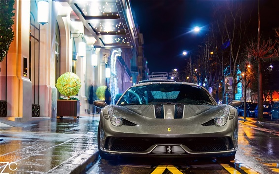 Wallpaper Ferrari 458 Speciale supercar at night street, Paris, France
