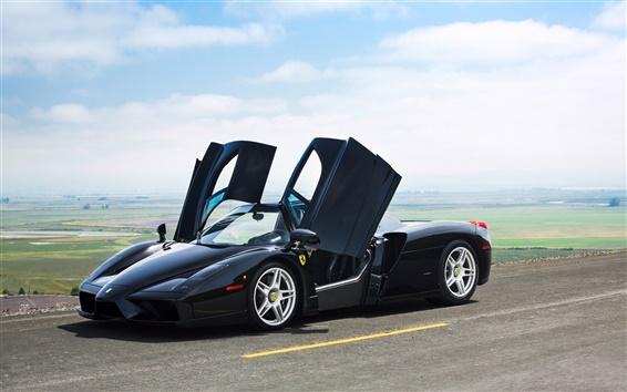 壁紙 フェラーリエンツォ黒色スーパーカー、ドアが開いた