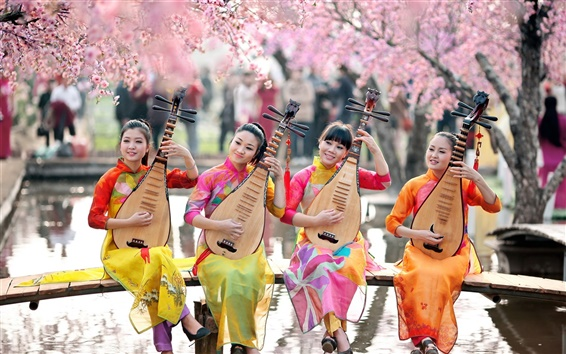 Wallpaper Four Chinese girls playing the pipa