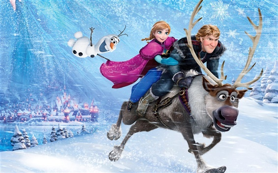 Wallpaper Frozen, Walt Disney, 2013 movie, Anna, Kristoff, snowflakes