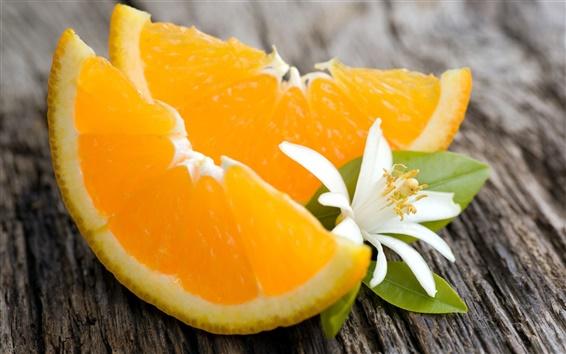 Обои Фрукты, оранжевый, белый цветок, зеленые листья