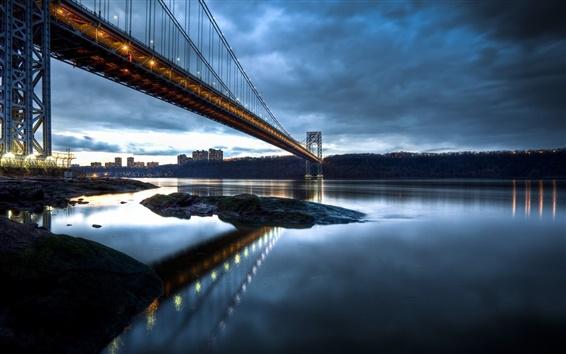 Wallpaper George Washington Bridge, New Jersey, Manhattan, Hudson River, evening