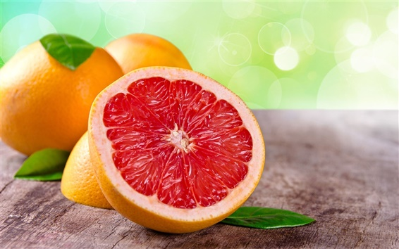 Wallpaper Grapefruit, fruit, leaves, orange, red