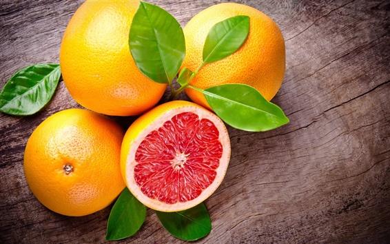 Wallpaper Grapefruit, fruit, leaves, red, orange
