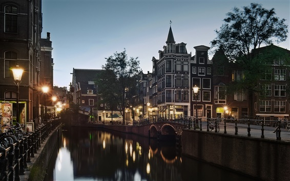 Wallpaper Holland, Amsterdam, street, canal, evening, dusk, lights, house