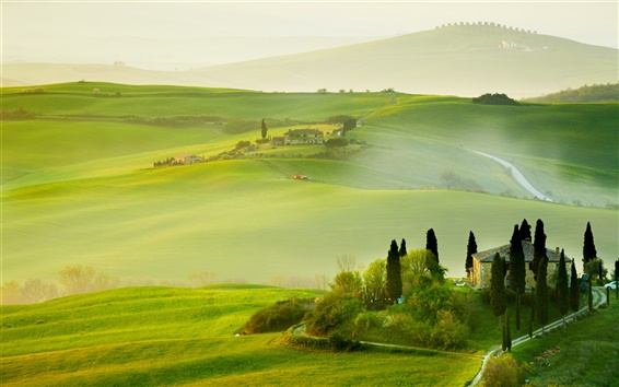 Wallpaper Italy, Tuscany, nature summer, countryside, house, green, beautiful landscape