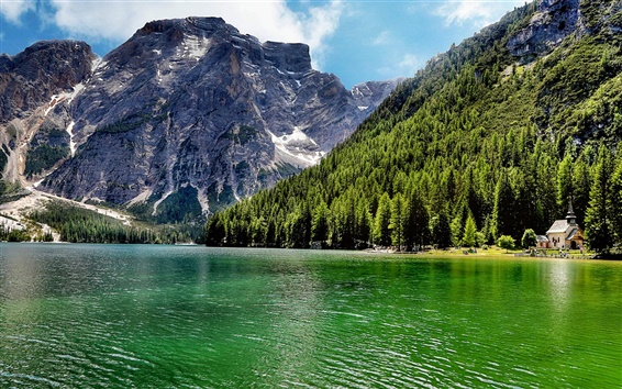 Wallpaper Italy, lake, forest, mountains, trees, house